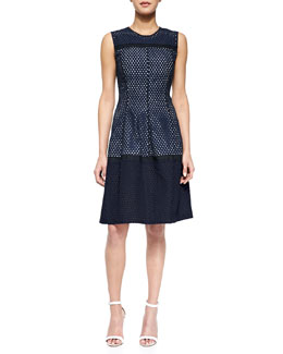 Lela Rose Mesh Contrast-Lined Dress, Navy