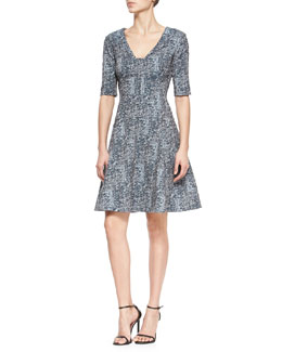 Lela Rose Reversible Elbow-Sleeve Fit-And-Flare Dress, Navy/Ivory
