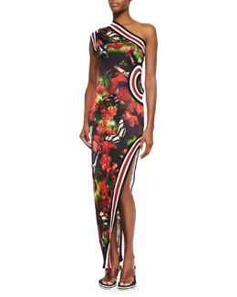 Jean Paul Gaultier One-Shoulder Cherry Butterfly-Print Dress, Black/Red