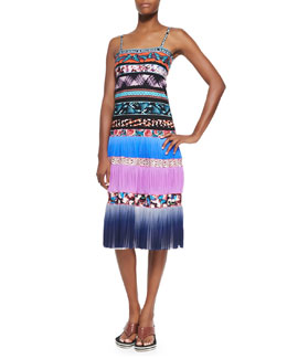Jean Paul Gaultier Ombre Striped Mixed-Print Tiered Slip Dress, Blue Multi