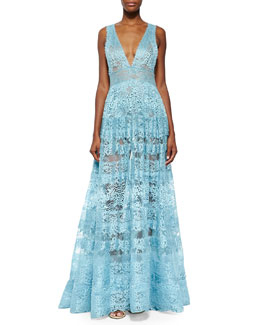 Elie Saab Sheer Backless Lace Gown, Sea Mist