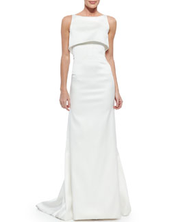 Zac Posen Sateen Double-Layer Gown, Optic White