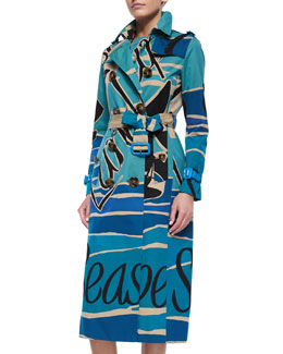 Burberry Prorsum Seascape-Print Double-Breasted Trenchcoat