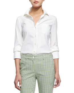 Michael Kors Double-Cuff Button Blouse, Optic White