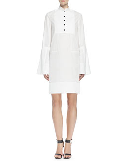Alexander McQueen Bib-Front Mandarin-Collar Tunic Dress, White