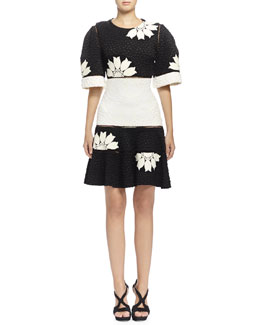Alexander McQueen Two-Tone Floral-Print Matelasse Dress, Black/Bone