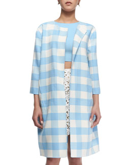Oscar de la Renta Buffalo Check 3/4-Sleeve Long Coat