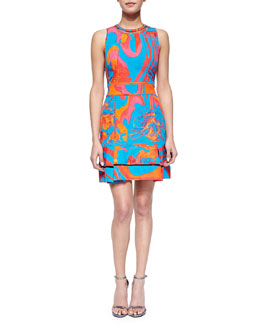 Roberto Cavalli Abstract Floral Brocade Mesh-Inset Dress