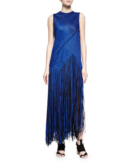 Proenza Schouler Chain-Knit Fringe-Skirt Dress, Cobalt/Black
