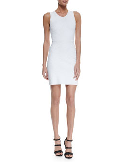 Roberto Cavalli Swirl Knit Jacquard Sheath Dress, White