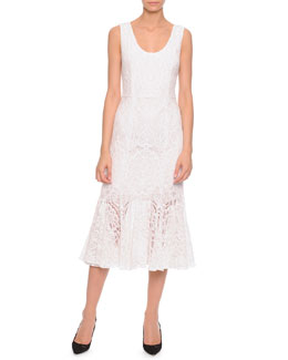 Dolce & Gabbana Lace Flounce-Skirt Tank Dress, White