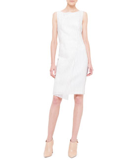 Akris Metallic-Striped Wrap-Front Dress