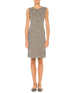 Giorgio Armani Animal-Print Jacquard Sheath Dress