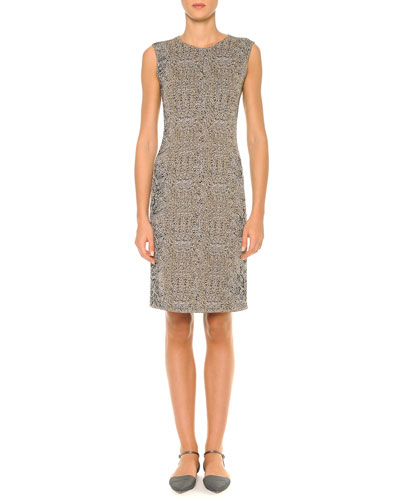 Animal-Print Jacquard Sheath Dress