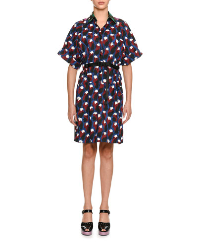 Short-Sleeve Printed Cotton Shirtdress