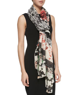 Roberto Cavalli Floral/Lace Patchwork Scarf, Black/Coral