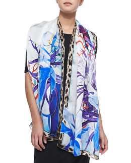 Roberto Cavalli Printed Stole with Leopard Trim