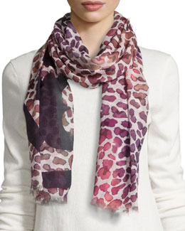 Tory Burch Watercolor Leopard-Print Scarf