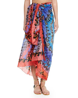 Alexander McQueen Rainbow Wings Convertible Pareo, Red/Blue