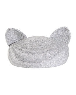 Caterina Beret with Cat Ears, Silver