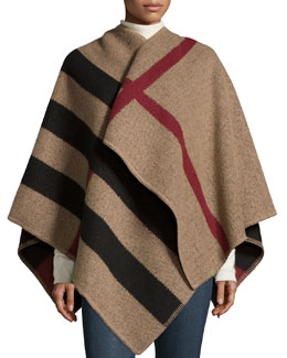 Burberry Prorsum Mega Check Cape, House Check/Black