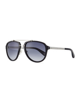 Marc Jacobs Plastic & Metal Aviator Sunglasses, Silver/Black