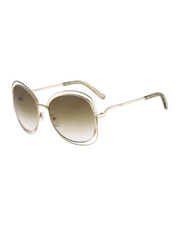 Chloe Carlina Butterfly-Frame Sunglasses, Gold