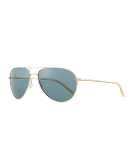 Oliver Peoples Benedict Polarized Aviator Sunglasses, Gold/Blue