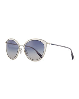 Oliver Peoples Gwynne Lens-in-Lens Sunglasses, Blue/Silver