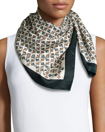Chain-Print Square Scarf, Ivory