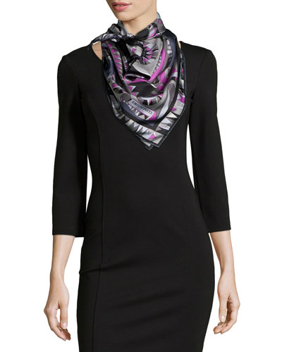 Niki Printed Silk Scarf, Black