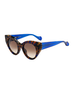 Fendi-Thierry Lasry Fanny Cat-Eye Sunglasses, Blue/Yellow