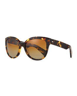 Oliver Peoples Abrie Plastic Cat-Eye Sunglasses, Tortoise