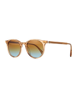 Oliver Peoples Delray Round Sunglasses, Clear Brown