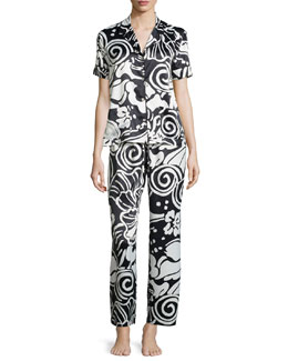 Tuvalo Floral-Print Two-Piece Pajama Set, Black/White
