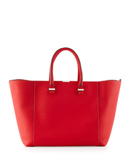 Victoria Beckham Liberty Leather Tote Bag, Pompom Red
