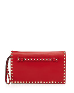 Valentino Rockstud Flap Wristlet Clutch Bag, Red
