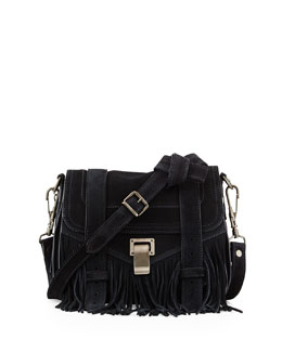 PS1 Suede Fringe Pouch Crossbody Bag, Navy