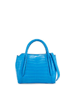 Nancy Gonzalez Small Crocodile Horseshoe Tote Bag, Ocean