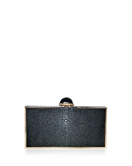 Judith Leiber Perfect Rectangle Stingray Clutch Bag, Black