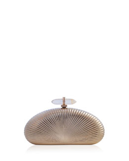 Judith Leiber Ribbed Half-Oval Quartz-Clasp Minaudiere, Champagne