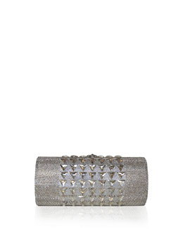 Judith Leiber Crystal Cylinder Minaudiere, Silver