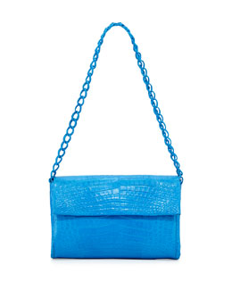 Nancy Gonzalez Medium Crocodile Double-Chain Shoulder Bag, Ocean