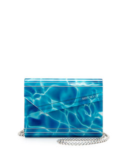 Jimmy Choo Candy Pool Acrylic Crossbody Bag, Turquoise