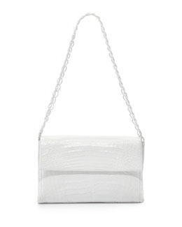 Nancy Gonzalez Medium Crocodile Double-Chain Shoulder Bag, White