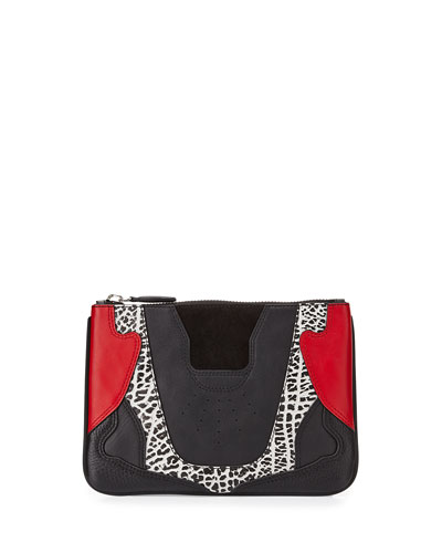 Colorblock Mixed Leather Sneaker-Inspired Clutch Bag