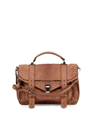 PS1 Medium Python Satchel Bag, Neutral