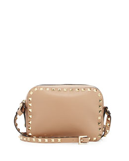 Valentino Rockstud Leather Camera Bag, Neutral