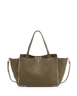 Valentino Rockstud Leather Tote Bag, Olive