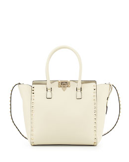 Valentino Rockstud Leather Shopper Bag, Ivory